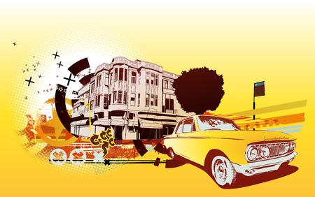 cobradores: Ilustraciones Vectoriales de viejos cl�sicos de colecci�n de coches personalizados en Urbana resumen de antecedentes en estilo grunge Vectores