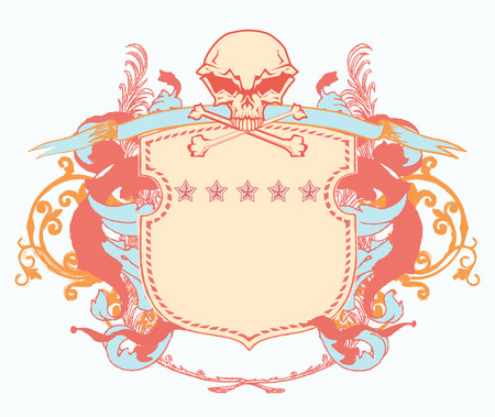 Vector illustration of heraldic shield or badge with stylized human skull and snakes, blank so you can add your own images Vector