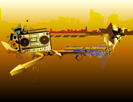 boombox: Vector illustration of urban music grunge frame with stars and boombox