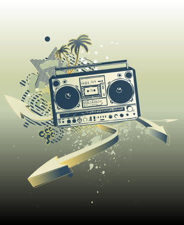 boombox: Vector illustration of urban music grunge background with stars and boombox