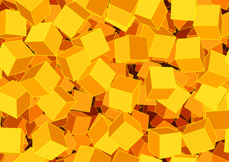 Vector illustration of style orange seamless background made of many funky cubes Vector