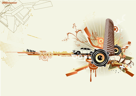 funky music: Vector illustration of style urban background Illustration