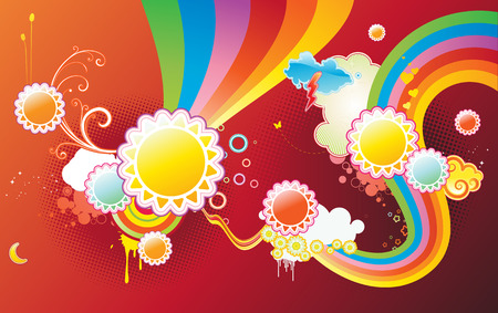 Vector illustration of funky styled design background made of sun shapes, rainbow shapes and floral elements Vector