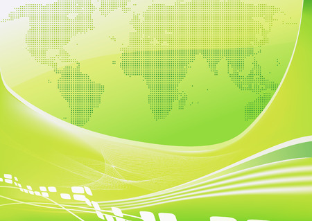 Vector illustration of stylised green world map background  Vector