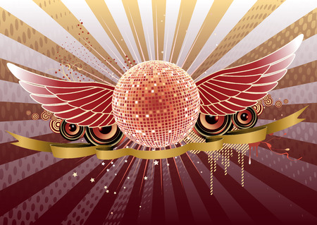 Vector illustration of shiny abstract party design with disco ball and ribbon Vector