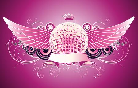 Vector illustratie van glanzende abstract partij design met disco bal en lint