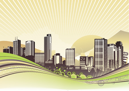 Vector illustration of Big City.  Urban background with abstract composition of dots and curved lines.  Vector