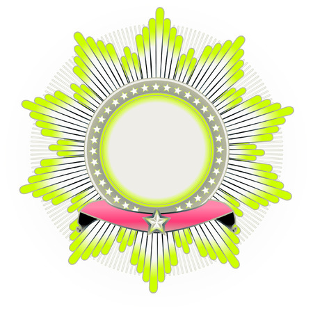 Vector illustration of star shaped Insignia with banner.  Blank, so you can add your own images.