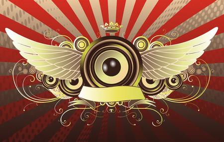 speaker system: Ilustraci�n vectorial brillante resumen de la parte de dise�o con altavoces, corona, cinta y elementos florales