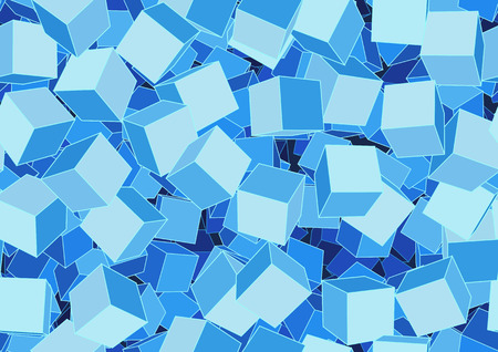 Vector illustration of style blue seamless background made of many funky cubes Vector