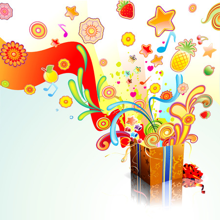 Vector illustration of funky exploding gift surprise Vector