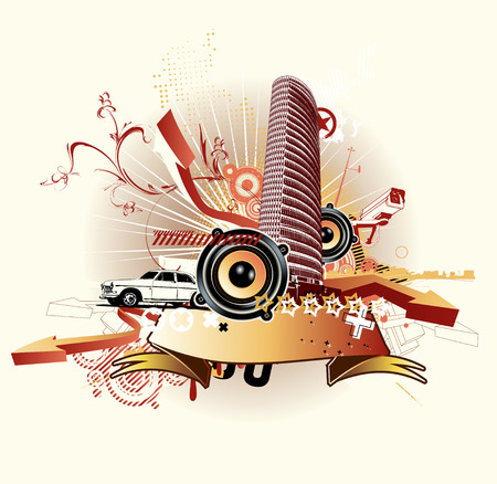 Vector illustration of style urban background Stock Vector - 5024360