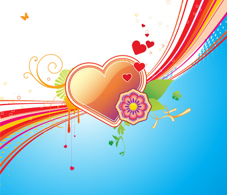 Vector illustration of funky styled design background with heart shape and floral elements Vector