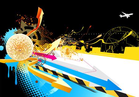 lichteffekte: Vector illustration von gl�nzenden Partei abstrakten Design mit Disco-Kugel �ber Farb-Stil st�dtischen Hintergrund