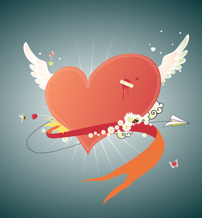Vector illustration of Cool funky red heart flying in the sky. Great for Valentine's Day and wedding postcards Stock Vector - 5024271