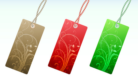 Vector illustration Set of floral product price tags in 3 colors Vector