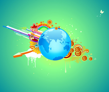 Vector illustration of funky abstract background with globe, flowers, arrows and circles          Vector