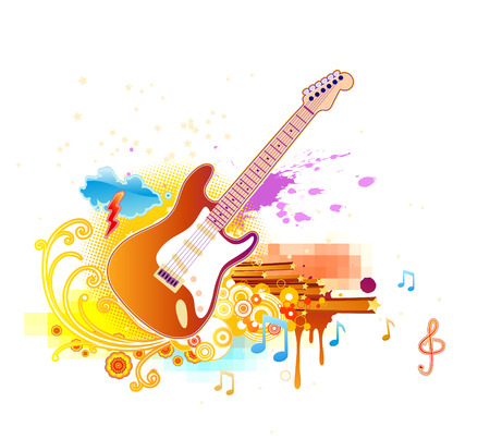 Vector illustration of shiny abstract party design with guitar Vector
