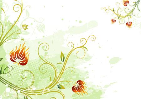 Vector illustration of green Grunge Floral Background Vector
