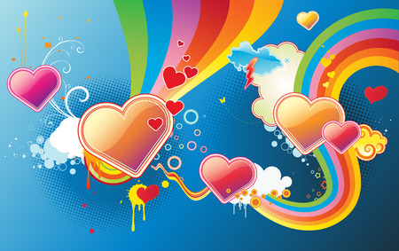 Vector illustration of funky styled design background made of heart shapes, rainbow shapes and floral elements Vector