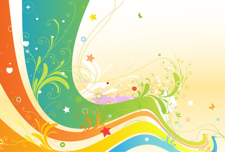 Vector illustration of style floral spring background Vector