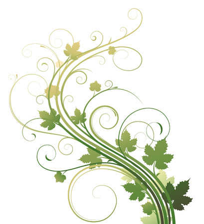 green leafs: Vector illustration of style Floral Background