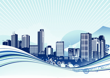 Vector illustration of Big City.  Blue urban background with abstract composition of dots and curved lines. Stock Vector - 5024317