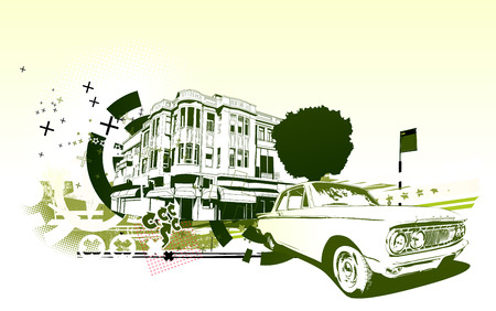 collectors: Vector Illustration of old vintage custom collectors car on Urban abstract background in grunge style Illustration
