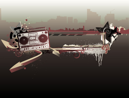 Vector illustration of urban music grunge frame with stars and boombox Vector