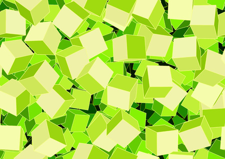 Vector illustration of style green seamless background made of many funky cubes Vector