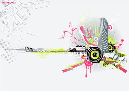 scroll wheel: Vector illustration of style urban background Illustration