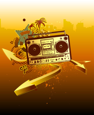 Vector illustration of urban music grunge background with stars and boombox Stock Vector - 5049991