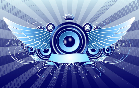 Vector illustration of blue shiny abstract party design with speaker, crown, ribbon and floral elements Vector