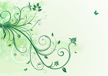 Vector illustration of green Grunge Floral Background Vector