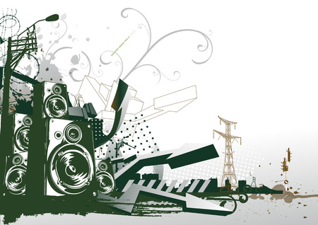 estilo urbano: Ilustraci�n vectorial de segundo plano urbano de estilo