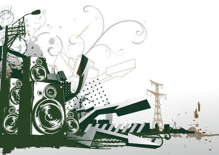 urban scene: Vector illustration of style urban background