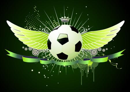 icono deportes: Vector ilustración de fútbol estilo de fútbol alas emblemas