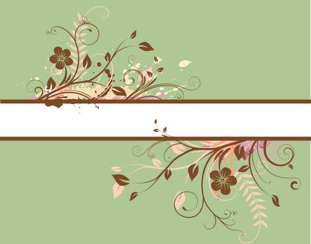 message vector: Ilustraci�n vectorial de la bandera verde de decoraci�n floral