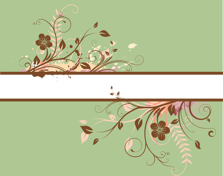 floral scroll: Vector illustration of green Floral Decorative banner Illustration