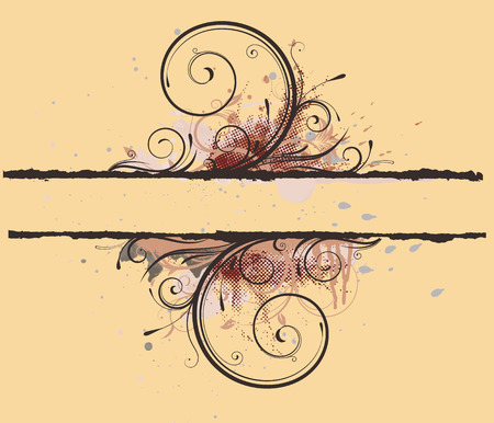 Vector illustration of Grunge Floral Decorative banner Vector