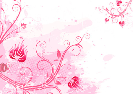 flower line: Vector illustration of pink Grunge Floral Background Illustration