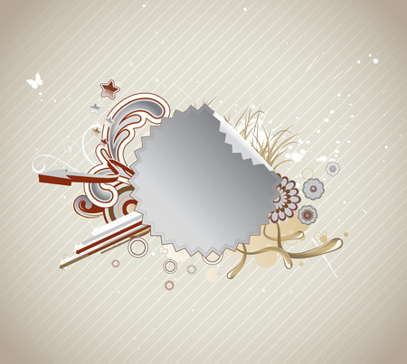 Vector illustration of funky styled design frame made of Peeling sticker, floral elements and  arrows  Vector