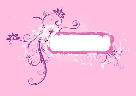 Vector illustration of pink Grunge Floral Decorative frame Vector