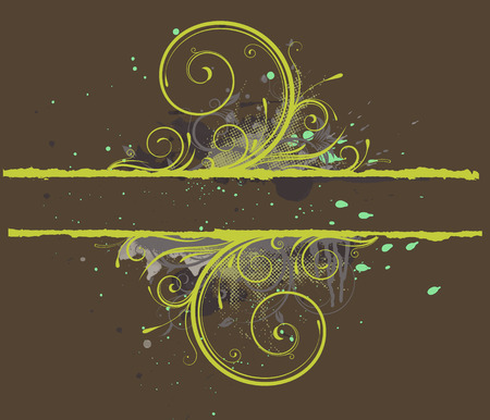 grunge vector: Vector illustration of Grunge Floral Decorative banner Illustration