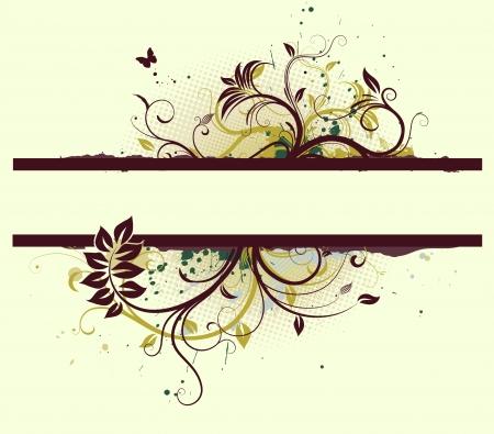 floral vector: Vector illustration of Grunge Floral Decorative banner Illustration