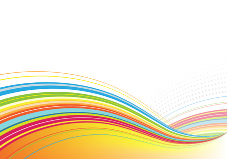 voluptuous: Vector illustration of abstract background made of Colorful Rainbow curved lines