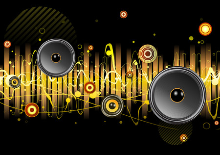 Vector illustration of shiny abstract party design with urban music scene - Speakers and sound waves Stock Vector - 5087174