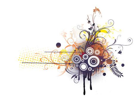 Vector illustration of Grunge Floral Decorative background Vector