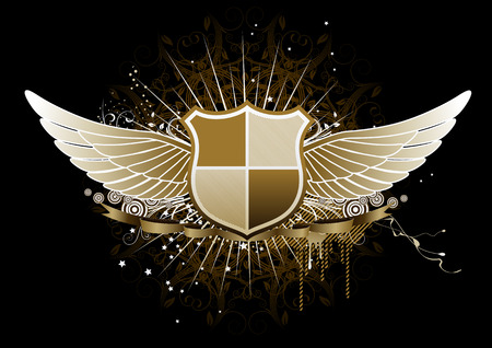 Vector illustration of golden winged heraldic shield or badge with banner, perfect for you to place your text Vector