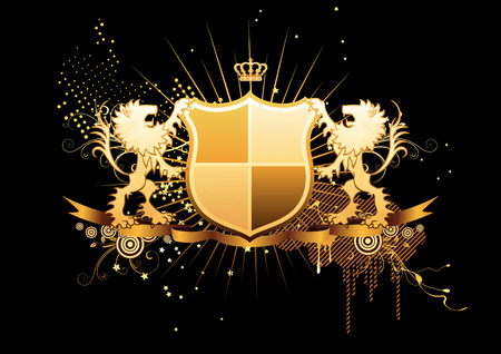 Vector illustration of golden heraldic shield or badge with banner and two lions Vector